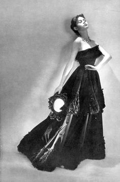 Brigitte Bardot (16) models an evening gown by Balenciaga, photo by Georges Saad, 1950