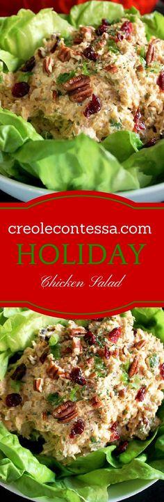 Holiday Chicken Salad with Pecans & Cranberries-Creole Contessa
