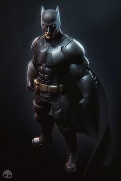 Batman by Alex Navi Batman Armor, Batman Suit, I Am Batman, Batman Cartoon, Batman Robin, 3d Model Character, Comic Character, Batman Redesign, Ben Affleck Batman