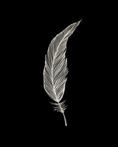 One Feather - White & Black Art Print