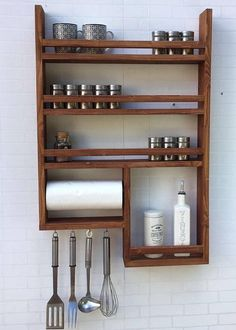 Kitchen Countertops Spice Rack with kitchen roll - Spice rack made of old wood with kitchen roll! 4 hooks, without decoration, very stable, with kitchen roll Kitchen Shelves, Diy Kitchen, Kitchen Decor, Kitchen Storage, Kitchen Ideas, 10x10 Kitchen, Kitchen Cabinets, Wooden Kitchen, Kitchen Small
