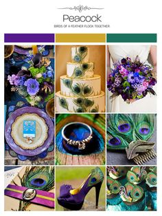 Peacock wedding inspiration board, purple, green and gold via Weddings Illustrated