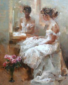 Nydia Lozano 1947   Spanish Impressionist Figurative painter   Ladies with flowers