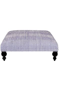 Rugs USA Ottomans Contemporary Chevron Short Leg Ottoman Navy
