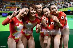 Asuka Teramoto, Mai Murakami, Sae Miyakawa, Aiko Sugihara and Yuki Uchiyama of Japan pose for photographs after the Women's qualification for Artistic Gymnastics on Day 2 of the Rio 2016 Olympic Games at the Rio Olympic Arena on August 7, 2016 in Rio de Janeiro, Brazil #リオ五輪 #体操