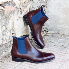 c5d0c3ae7612d Custom Made Chelsea Boot Classic in Medium Brown Polished Calf Leather and  Navy Blue Elastic