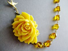 Statement Necklace,Bridesmaid Necklace,Yellow Jewelry,Amber Necklace,Summer Wedding (Free matching earrings). $32.00, via Etsy.