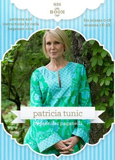 Named for Jennifer's  mother, the Patricia Tunic is cool, comfortable, and elegant.  It is  just as perfect for lounging by the water as it is for running errands  or going out for an evening