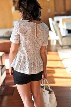 white lace top and shorts for summer Blouse Styles, Blouse Designs, Summer Outfits, Casual Outfits, Iranian Women Fashion, Indian Designer Outfits, College Fashion, Lace Tops, Pulls