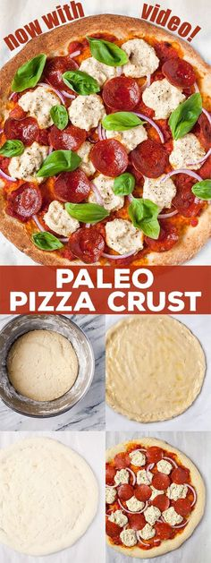 "Paleo Pizza. Gluten free, grain free, dairy free, full of flavor! -try sunflower seed flour and flax ""egg"" (www.ChefBrandy.com)"