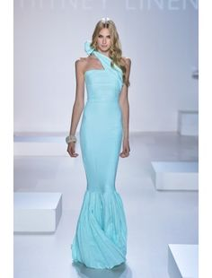 Aqua Pleated Gown with Bow
