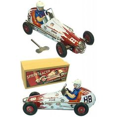 Schylling Sprint Racer : Number 88 : Red Flames on White Race Car : Tin Toy : 1950 Japanese