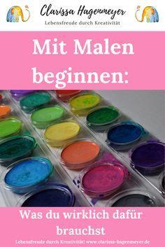 Willst du wissen, was du wirklich brauchst um mit dem Malen zu beginnen? Ich zeige es dir, denn: jeder kann malen! #malen #aquarell #zeichnen #malkurs #kreativübung #kreativ #kreativität #tutorial #clarissahagenmeyer #malenlernen