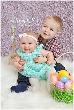 6 Month Baby Girl Photo Ideas - Easter Eggs - Brother & Little Sister - Billings, MT Baby & Portrait Photographer