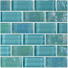 "Master bath accent - Turquoise, 1"" x 2"" - Glass Tile"