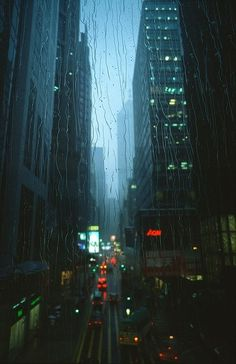 City in the rain