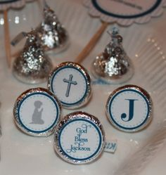 Hershey Kisses with stickers on bottom for first communion favors