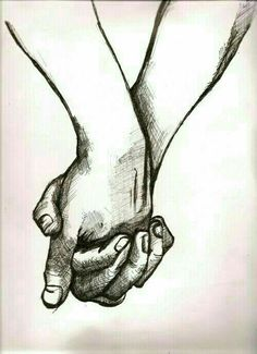 hand-in-hand sketch (done it! Amazing Drawings, Love Drawings, Beautiful Drawings, Drawing Sketches, Amazing Art, Art Drawings, Pencil Drawings, Pen Sketch, Couple Drawings