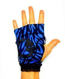 Blue Zebra print gloves