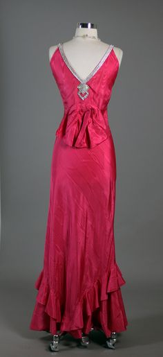 Vintage 1930s Elegant Screen Siren Rhinestone Trimmed Red Pink Rayon Taffeta Moire Cocktail Party Dress - back
