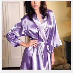 NWT Satin VS Robe Gorgeous lavender satin robe brand new in package...size M/L Victoria's Secret Intimates & Sleepwear Robes