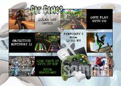 Printable VIDEO GAME Birthday Party Invitations by therandompanda, $18.00