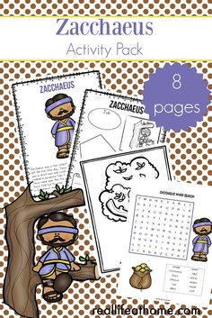Kids church lessons - Zacchaeus Story for Kids Free Zacchaeus Printables Packet for Elementary Students – Kids church lessons Preschool Bible Lessons, Bible Lessons For Kids, Bible Activities, Free Preschool, Kindergarten Activities, Bible Resources, Alphabet Activities, Learning Activities, Bible Stories For Kids