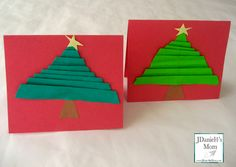 Handmade Christmas Cards Made with Folded Christmas Trees