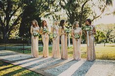 Beautiful gold sparkly bridesmaid dresses!
