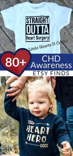 80+ awesome finds on Etsy to spread CHD Awareness | Congenital Heart Defects Awareness Week | CHD Mom | Heart Warrior #ad Chd Awareness, Congenital Heart Defect, Warriors Shirt, Kid Closet, Heart For Kids, Heart Disease, Etsy, Children, Cricut