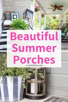 Beautiful Summer Porches - - Gorgeous front porch decorating ideas you'll love this summer. Perfect ways to add cozy touches whether your space is small or large! Summer Front Porches, Summer Porch Decor, Diy Porch, Porch Ideas, Patio Ideas, Country Front Porches, Yard Ideas, Patio Signs, Porch Decorating