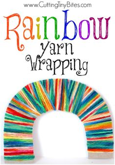 Rainbow Yarn Wrapping.  Bright, colorful fine motor craft for kids.  Great for preschoolers or elementary aged children.  Perfect for St. Patricks Day! - repinned by @PediaStaff – Please Visit  ht.ly/63sNt for all our pediatric therapy pins