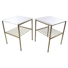 """22.75""""H x 15""""W x 18""""D - Pair Harvey Probber Style Brass and Marble End Tables 