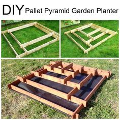 DIY Pallet Pyramid Garden Planter - oh goodness, I remember building one of these in minecraft Farm Gardens, Outdoor Gardens, Outdoor Projects, Garden Projects, Small Outdoor Spaces, Inside Plants, Raised Garden Beds, Raised Beds, Patio