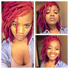 """Ok people, I WANT 😍🙌! Whatcha think, should I stick with pink or change them to red? *disclaimer: I found these pics by googling the words """"pink dreadlocks"""". No idea who the models are, sorry. Pelo Natural, Natural Hair Care, Natural Hair Styles, Dreads Styles, Curly Hair Styles, Beautiful Dreadlocks, Dreadlock Hairstyles, Braid Hairstyles, Natural Hair Inspiration"""