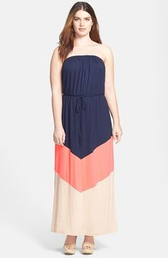 7e25d1bfdd0 Loveappella Strapless Colorblock Maxi Dress (Plus Size) available at  #Nordstrom Σύνολα Για Εύσωμους