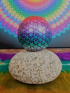 Mandala Globe, Dot Mandala, Metallic Rainbow, Meditation Globe, Art by Kaila Lance, Dot Painting, Wood, Mandala Stone by KailasCanvas on Etsy