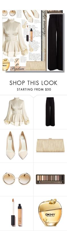 """""""Peplum Top - Contest!"""" by sarahguo ❤ liked on Polyvore featuring Andrew Gn, Joseph, Francesco Russo, Adrianna Papell, Dolce&Gabbana, Urban Decay, DKNY, SPINELLI KILCOLLIN and PearlsandLace"""