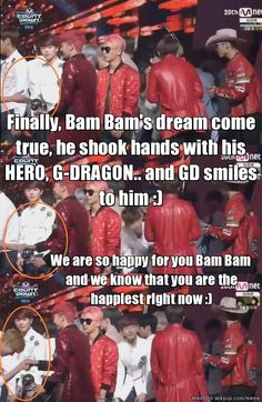Bam Bam shook hands with G-DRAGON in Mcountdown.. Lucky fanboy indeed!! XD | allkpop Meme Center