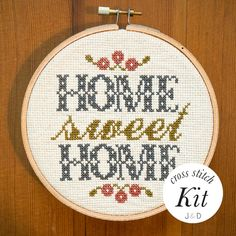 A modern pattern for a classic stitch Home Sweet Home. Use an embroidery hoop to frame and mount this cross stitch on your wall, or sew it into a pillow to rest your head upon. Either way, live with sweetness and love that is your new cross stitch.  An ideal first project, with a level of ease pitched to be both rewarding and meditative. This kit includes fully illustrated directions for your cross-stitch as well as for finishing your work, plus ALL necessary supplies. Finish your…