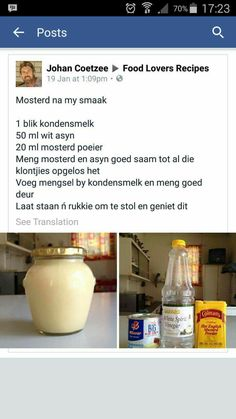 Homemade condensed milk mustard Braai Recipes, Milk Recipes, Cooking Recipes, Soup Recipes, South African Recipes, Africa Recipes, Homemade Condensed Milk, Kos, Homemade Mustard