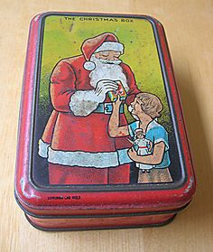Old Christmas Biscuits tin - with Santa pictorial on lid