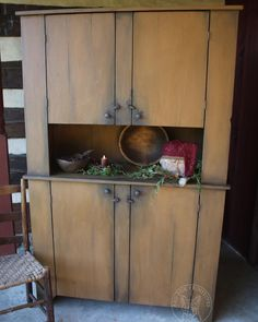 Mustard Painted Cupboard   Red Fox Primitives