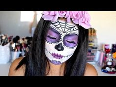 """""""Day Of The Dead"""" Mexican Sugar Skull Halloween Makeup Tutorial 