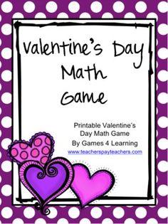 Valentine's Day Math Game FREEBIE by Games 4 Learning is a printable Valentine's Day Math Board Game.