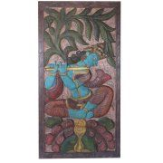 Mogul Indian Antique Vintage Krishna Fluting Under Kadambari Wish Tree Wall Sculpture Barn Door Panel Image 1 of 3    https://www.walmart.com/search/?cat_id=0&grid=true&query=mogul+interior+WALL+PANEL+#searchProductResult