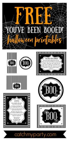 """Halloween is almost here and I can't wait to share these fun """"You've Been BOOed"""" Halloween printables with you. I love the idea of """"BOOing"""" and being """"BOOed."""" For those who haven't heard about it, it's a fun way to spread the excitement of Halloween (and fun treats) among friends and neighbors. It's a little like a chain letter mixed with a Secret Santa, and it's taking neighborhoods by storm! See more party ideas and share yours at CatchMyParty.com #catchmyparty #partyideas #halloween…"""
