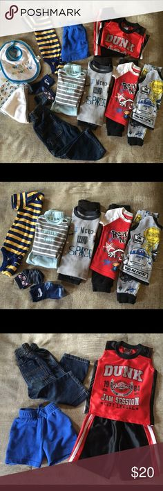 Toddler boy bundle (12-18 mons) 4 pair of pajamas :: 1 onesie :: 1 short set (red), the shorts crotch is coming unsewn, but they're not torn. :: 1 pair carpenter jeans :: 1 blue shorts :: 5 bibs, 1 receiving blanket :: 1 burp cloth :: 1 wash cloth :: 2 pair socks. The aqua pj's are more for an 18-24 mon. toddler. Other