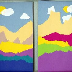 "Torn Paper Landscape - tear paper & layer the pieces to make colourful landscapes. Tearing paper strengthens little fingers & hands ("",)"