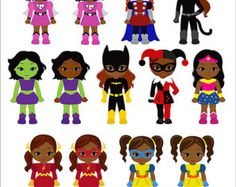 African American Superhero baby girl clipart Super by PentoolPixie